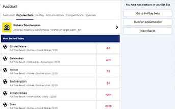 Football bets directory on the Sky Bet mobile app
