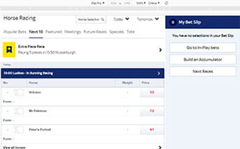 Horse racing betting directory on the Sky Bet mobile app