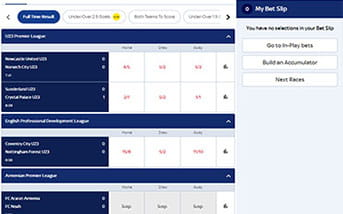 Live betting directory on the Sky Bet mobile app