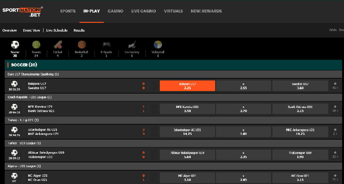 SportNation live betting platform