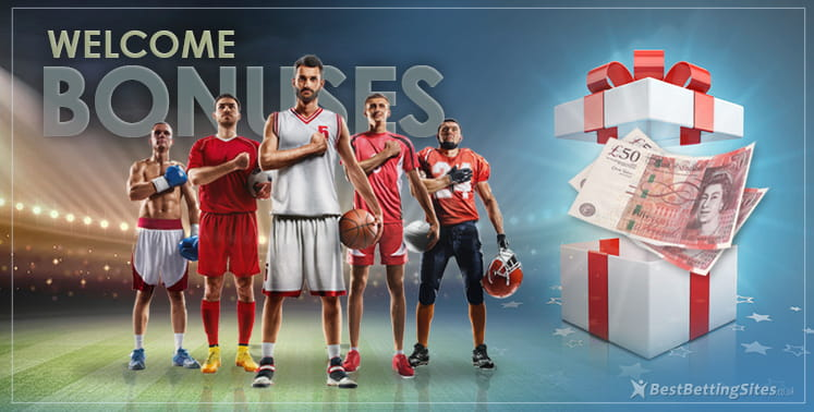 Athletes representing five different sports flanked by a giant present containing £50 notes promoting the sports welcome bonuses