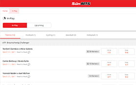 A look at the Sun Bets live betting console