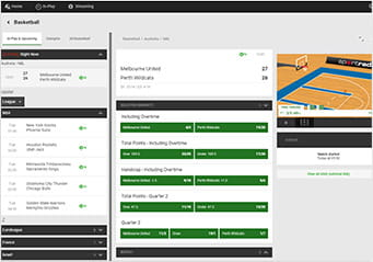 Unibet in-play basketball platform showing an event