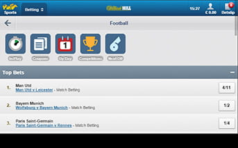 Lots of football markets and bets on William Hill mobile version.
