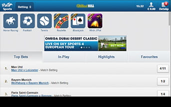 William Hill mobile app home screen