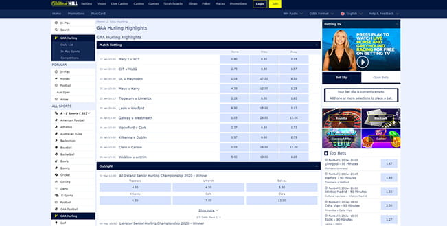 William Hill in-play Gaelic sports platform