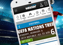 Winner mobile app with a player heading a football in the background