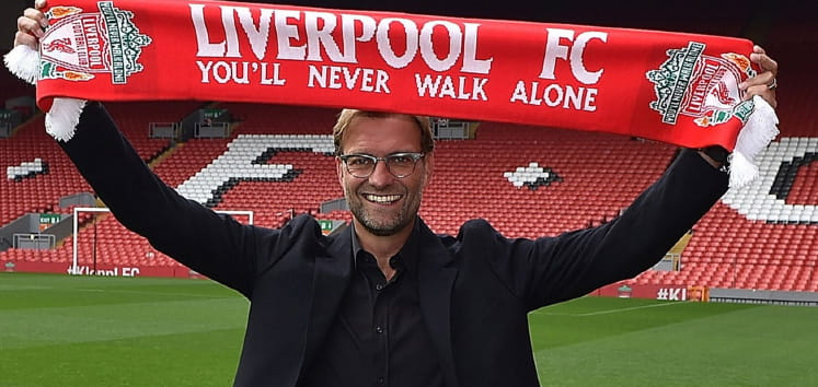 Klopp being unveiled as the new  manager at Liverpool FC.