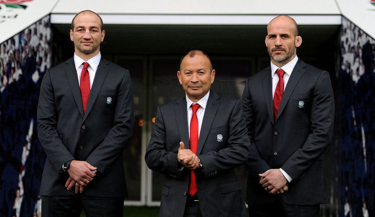 Eddie Jones with Steve Borthwick and Paul Gustard
