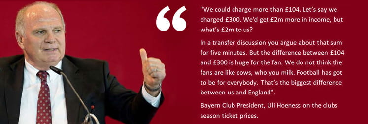 Ulrich Hoeneß quote on Bayern's season ticket prices