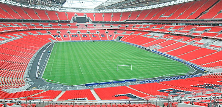 Empty Wembley Stadium bird view