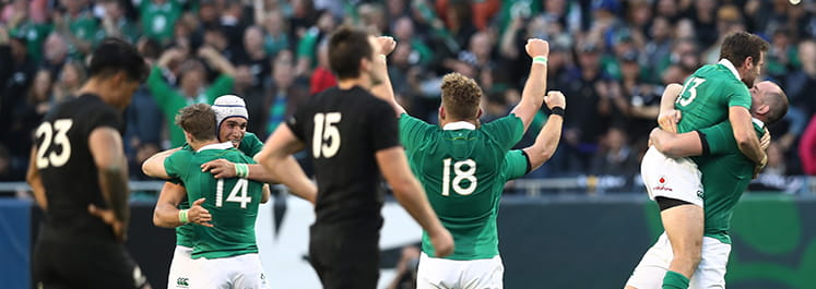 Ireland celebrate after making history as they triumph over the All Blacks in Chicago in November 2016