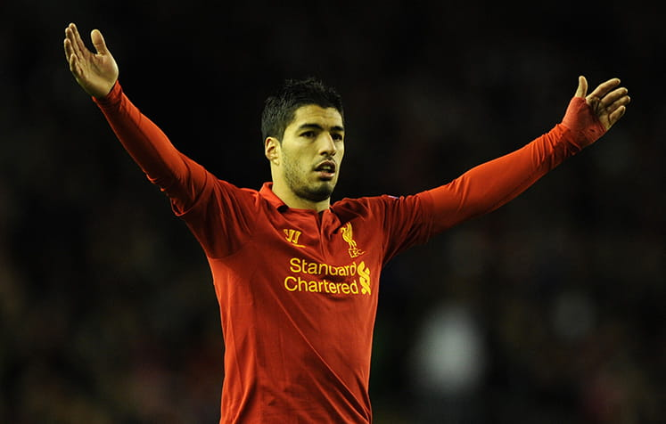 Suarez playing for Liverpool