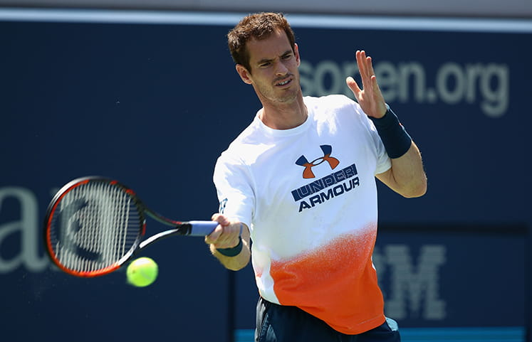 Andy Murray in action training