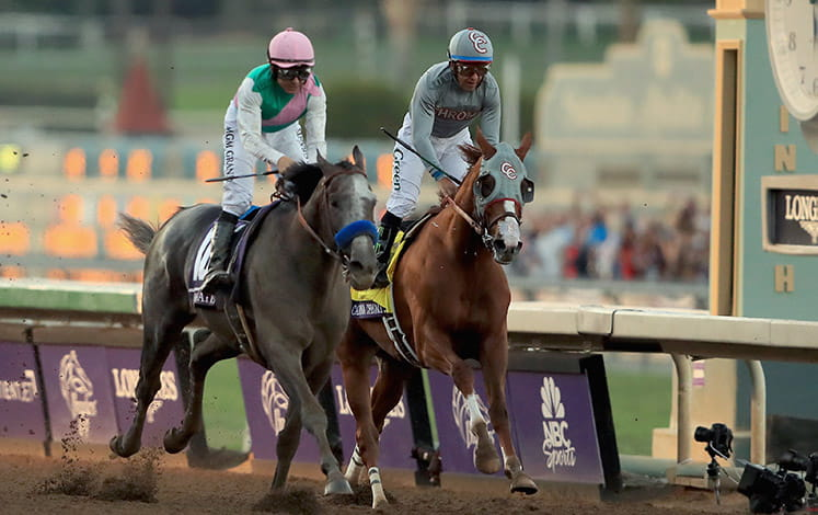 Two horses running at the Breeders Cup