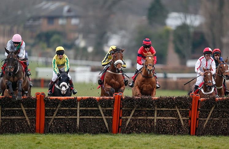 Lots of horses jumping a hurdle in the bet365 Select Hurdle