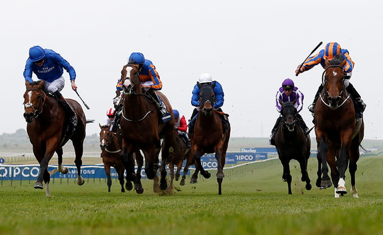 Low angle shot of horses racing at Newmarket