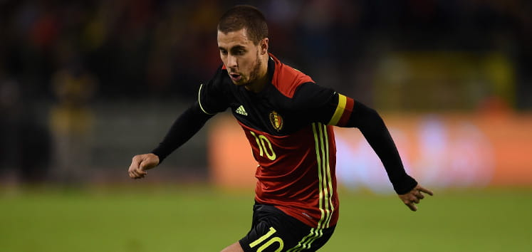 Eden Hazard playing for Belgium