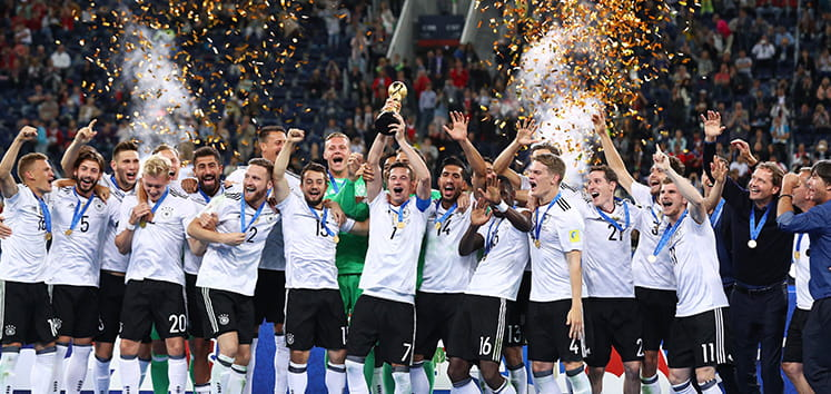 The Germany team celebrating winning the World Cup