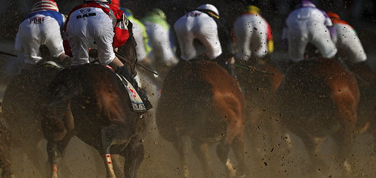 Horses from behind at the Kentucky Derby