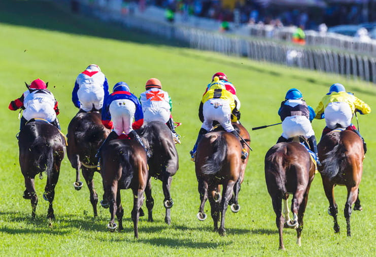 Horses racing to the finish at the Irish Oaks
