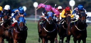 Horses racing to the finish at Haydock Park