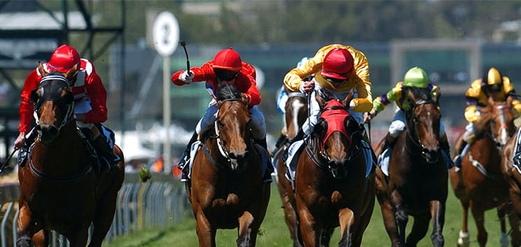Horses racing to the finish line at the Champagne Stakes