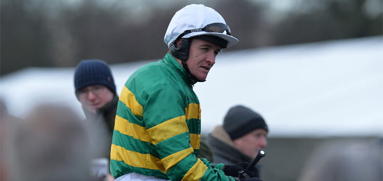 A jockey at the Fighting Fifth Hurdle event