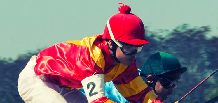 Close up of a jockey at Aintree
