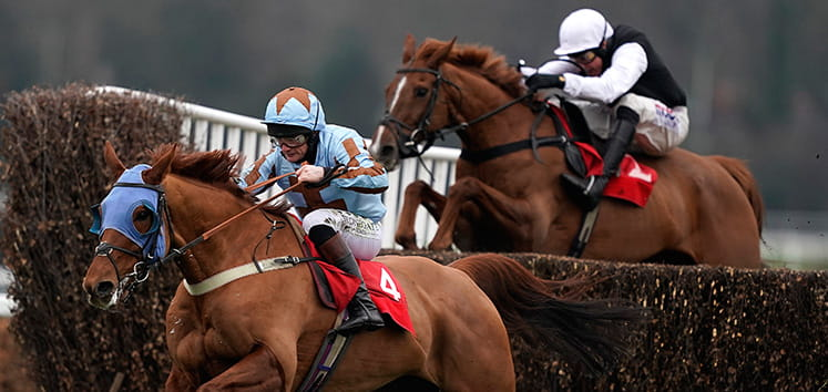 Close up of horses racing at Lingfield