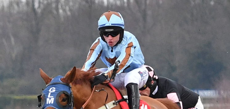 Close up of a jockey at Kempton