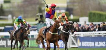 Jockey celebrating a win at Cheltenham