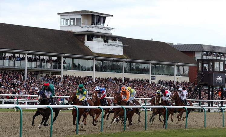 Side view of horses racing at Lingfield
