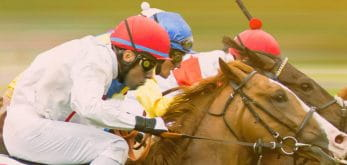 Side view of 2 horses at Newmarket