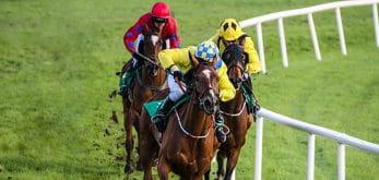 Horses on racecourse.
